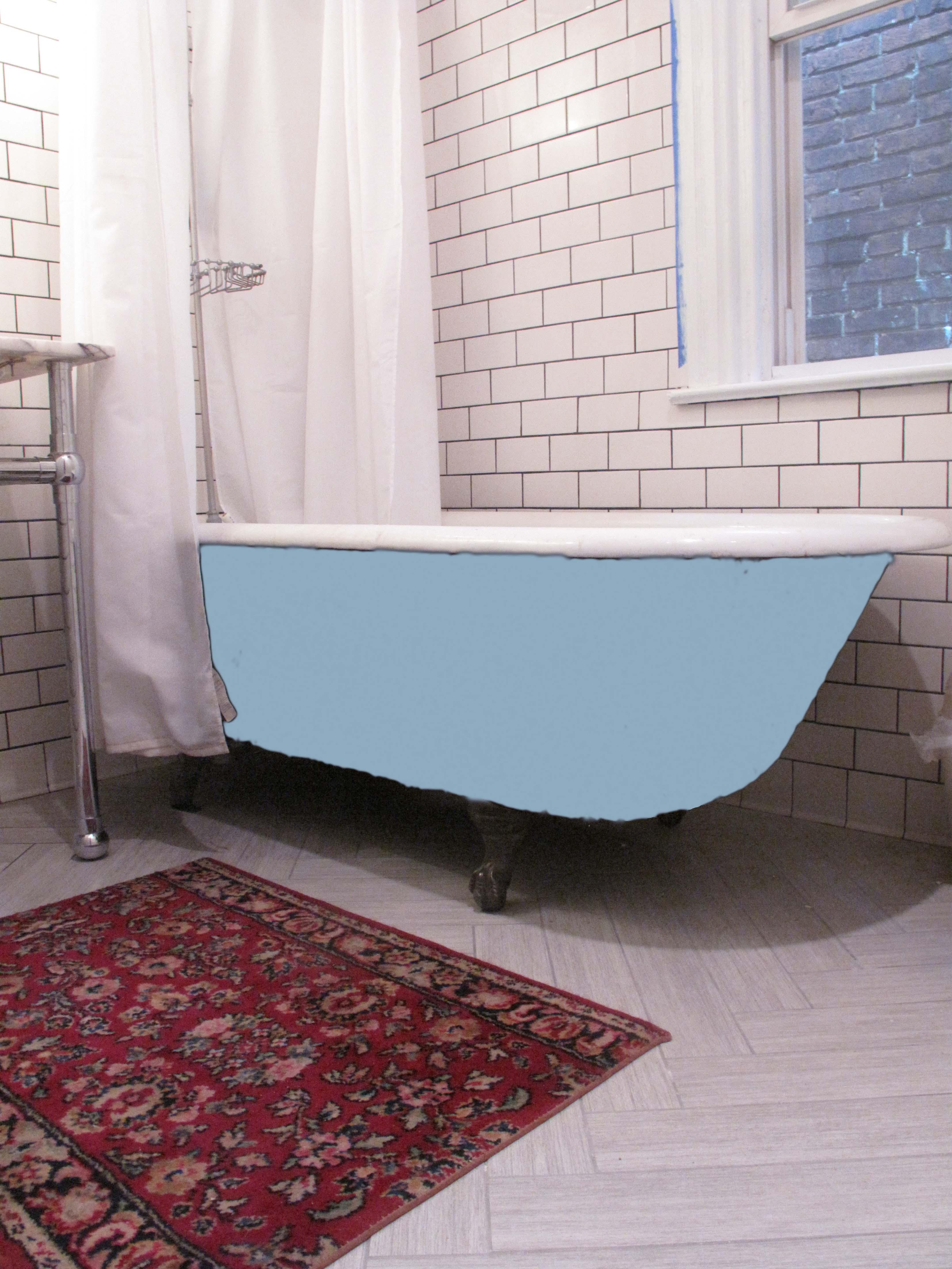 Blue Bathtub. A Woman Having Bath In A Blue Vintage Clawfoot Bathtub ...